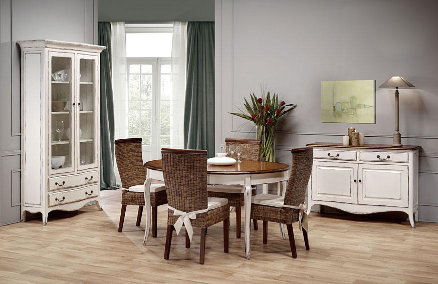 Muebles de salon comedor colonial en blanco
