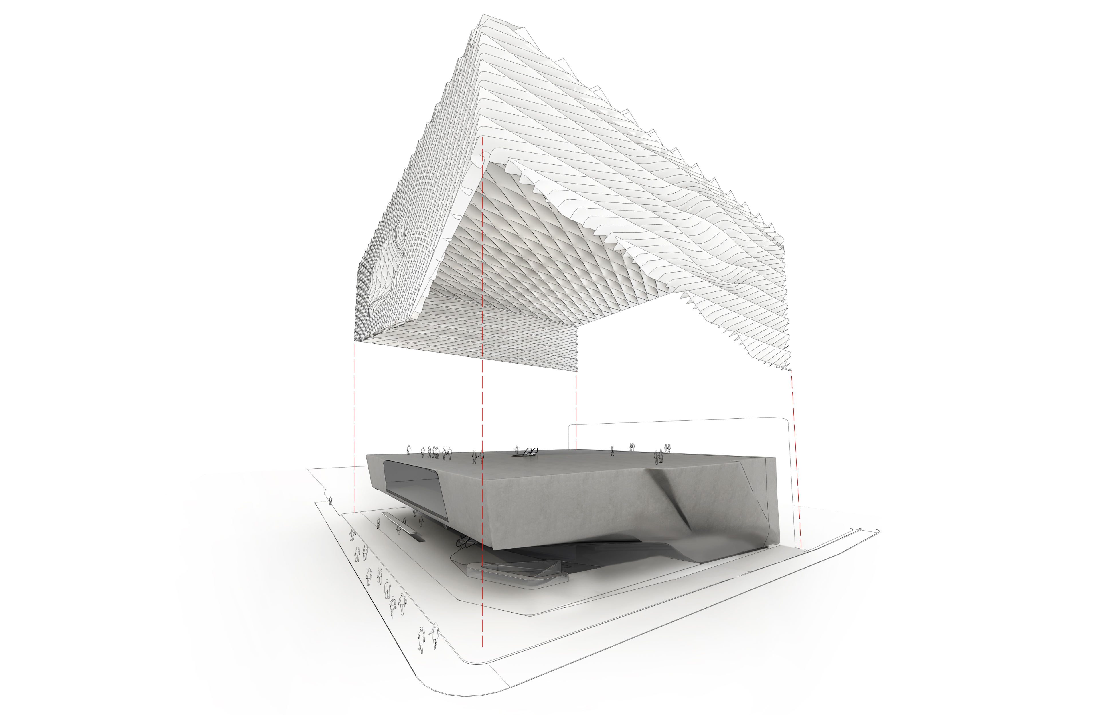 The Broad Collection: Exploded Axonometric. Diller Scofidio+Renf